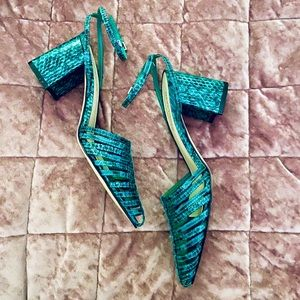 MARC FISHER CARMELLA HUARACHE GREEN SNAKE PUMPS